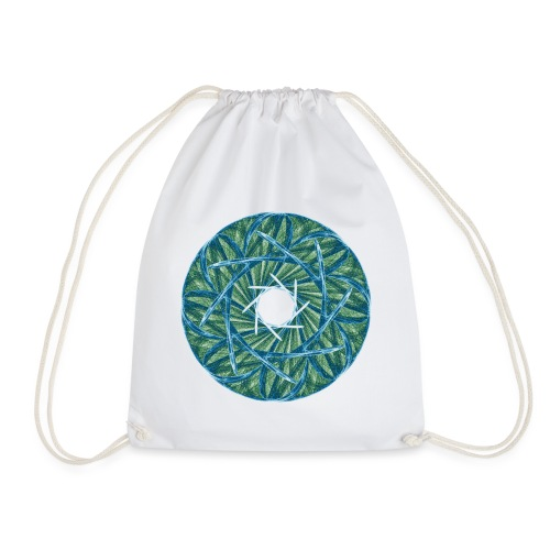 Rosette of thorns and blades of grass Mandala 12247oce - Drawstring Bag