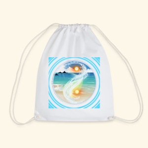 Yin Yang beach scene white - Drawstring Bag