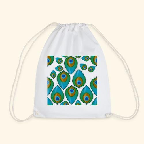 peacock tile png - Drawstring Bag