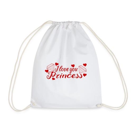 I Love you Princess mit Diamanten und Herzchen - Turnbeutel