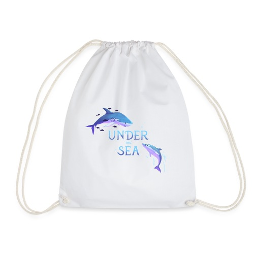 Under the Sea - Shark and Dolphin - Drawstring Bag