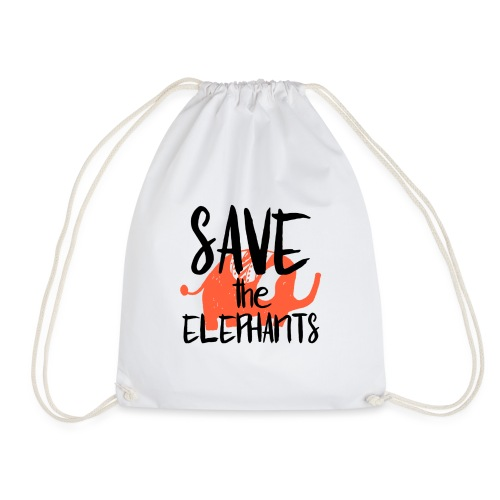 Save the Elephants - Drawstring Bag