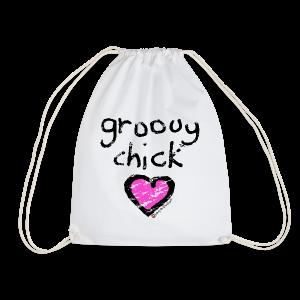 'groovy chick' - Heart - Drawstring Bag