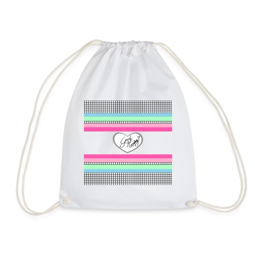 squares with heart - Drawstring Bag