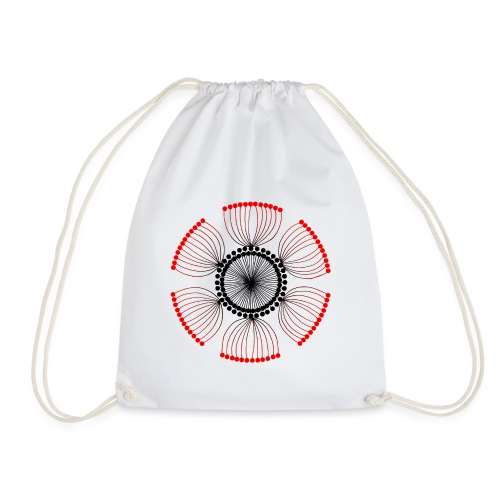 Red Poppy Seeds Mandala - Drawstring Bag