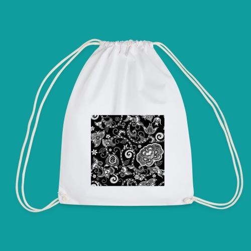 design floral vintage noir et blanc - Sac de sport léger