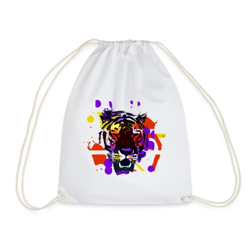 Tiger Splatter Motive - Drawstring Bag