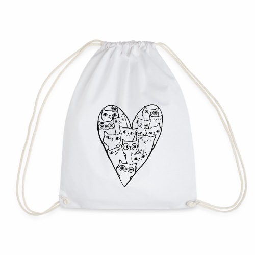 I Love Cats - Drawstring Bag