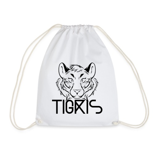 Tigris Logo Picture Text Black - Drawstring Bag
