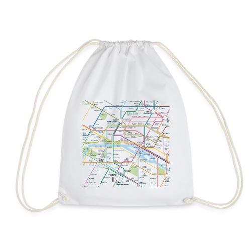 Paris Map Square - Drawstring Bag