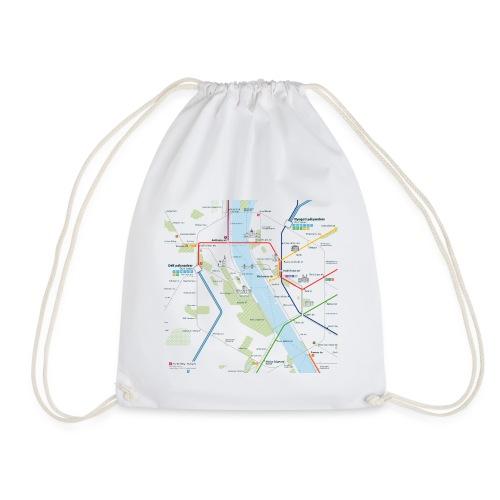 Budapest Map Square - Drawstring Bag