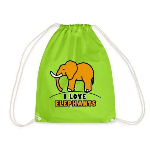 Elefant - I LOVE ELEPHANTS - Turnbeutel