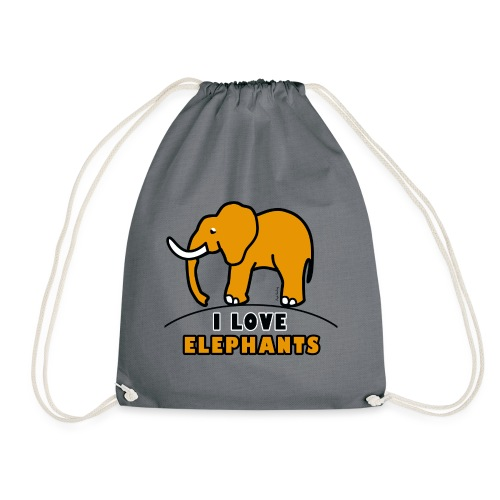 Elefant - I LOVE ELEPHANTS - Turnbeutel
