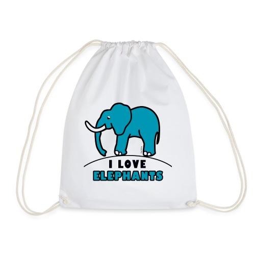 Blauer Elefant - I LOVE ELEPHANTS - Turnbeutel
