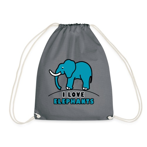 Blauer Elefant - I LOVE ELEPHANTS - Turnbeutel