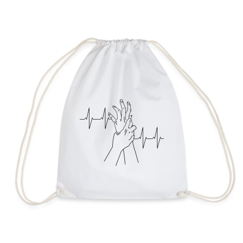 heartbeat_white - Drawstring Bag