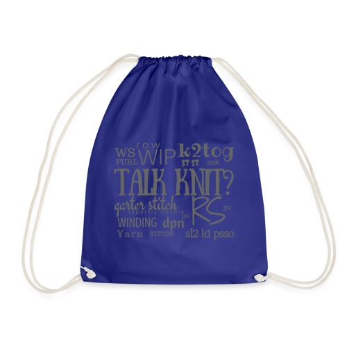Talk Knit ?, gray - Drawstring Bag
