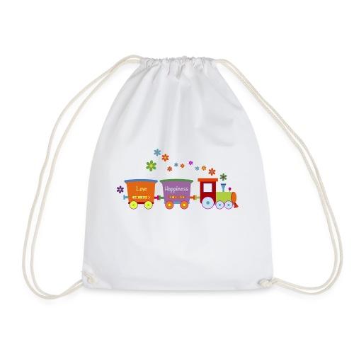 Eisenbahn Kinderspielzeug Zug Frühlingsblumen bunt - Drawstring Bag