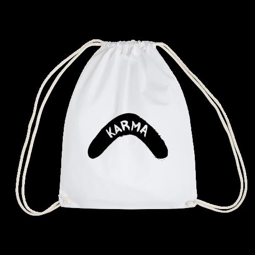 Karma Motiv Boomerang Schwarz Geschenk Idee - Turnbeutel
