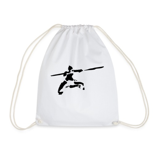 Kungfu stick fighter / ink - Drawstring Bag