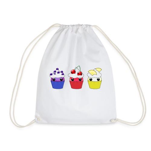 three kawaii cupcakes blueberry cherry lemon - Drawstring Bag