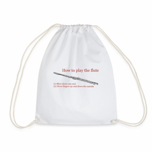 How to play the flute by artist Jon Ball - Drawstring Bag