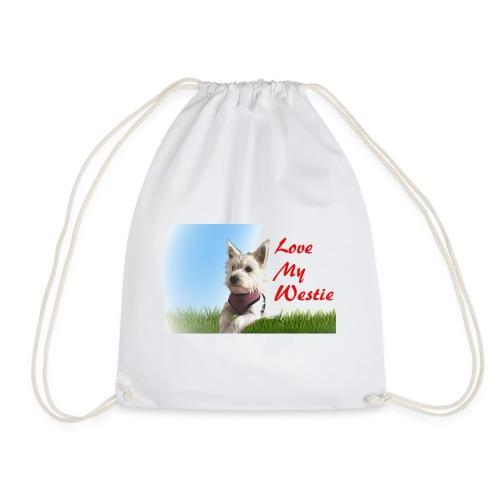 Love my westie - Drawstring Bag