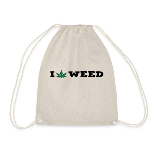 I LOVE WEED - Drawstring Bag