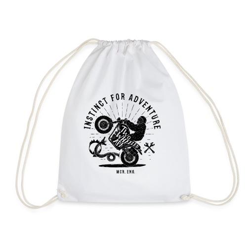 Two Wheeled Ape Wheelie Biker T shirt - Drawstring Bag