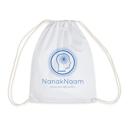 Nanak Naam Logo and Name - Blue - Drawstring Bag