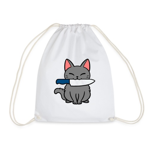 Fröhliche Katze mit Messer - Turnbeutel