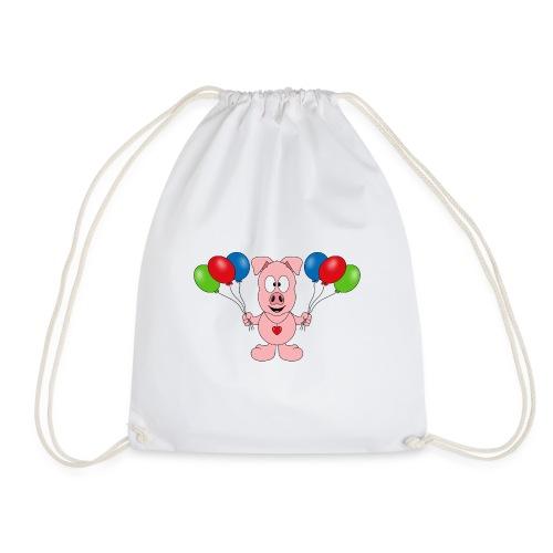 Lustiges Schwein - Luftballons - Geburtstag - Kids - Turnbeutel