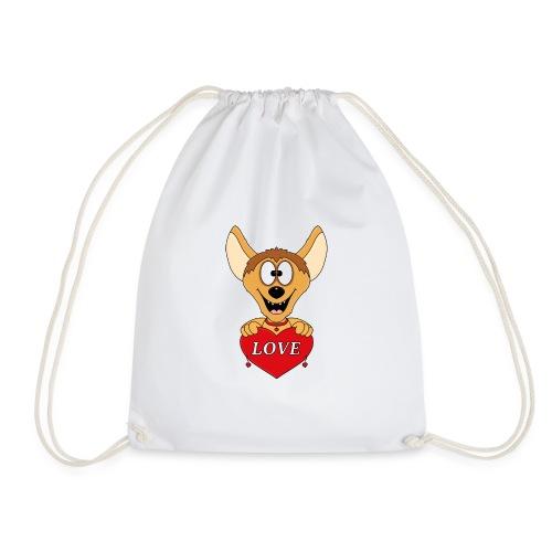 Lustige Hyäne - Herz - Liebe - Love - Tier - Fun - Turnbeutel