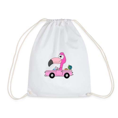 Lustiger Flamingo - Auto - Weltenbummler - Reise - Turnbeutel