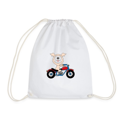 Lustiges Lama - Alpaka - Motorrad - Biker - Fun - Turnbeutel