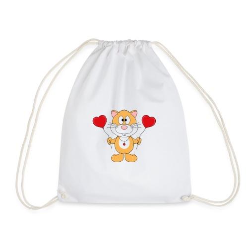 Lustiger Hamster - Herzen - Luftballons - Liebe - Turnbeutel