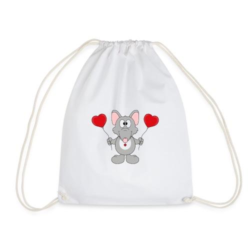 Ratte - Herzen - Luftballons - Geschenk - Tier - Turnbeutel