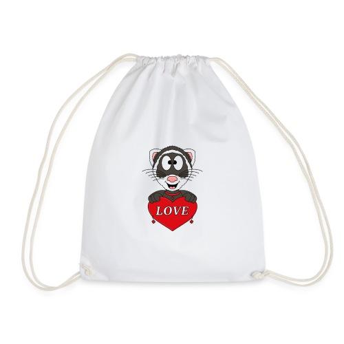 Frettchen - Herz - Liebe - Love - Tier - Kind - Turnbeutel