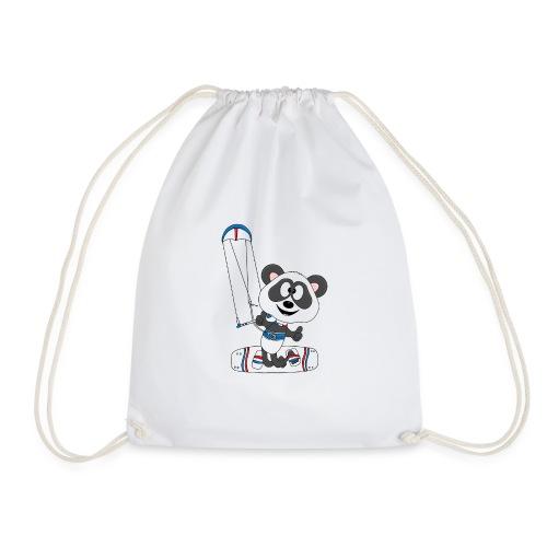 Panda - Bär - Kite - Kitesurfer - Kitesurfen - Fun - Turnbeutel