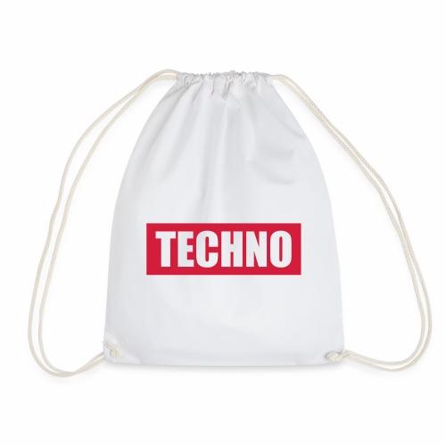 Techno Roter Balken Schriftzug Red Stripes Text - Turnbeutel