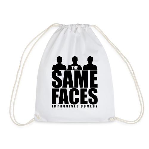 Same Faces Logo - Black - Drawstring Bag