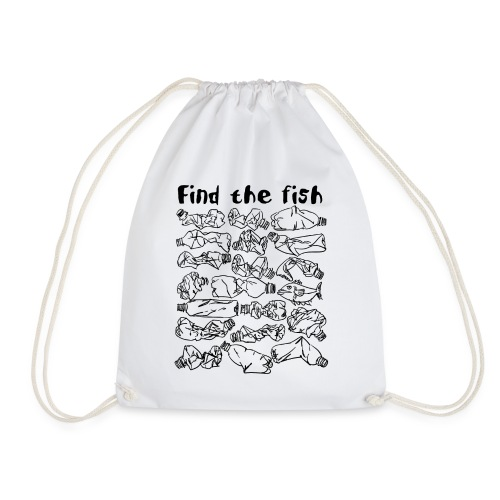 ECO ocean plastic bottles pollution find the fish - Drawstring Bag