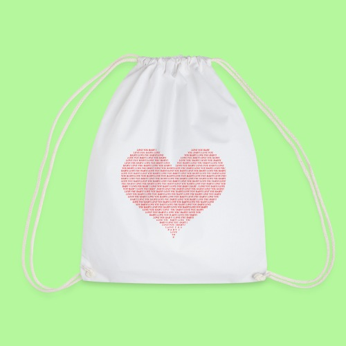 Typography Heart Shape Design Red Text I Love You - Drawstring Bag