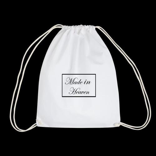 Made in Heaven Logo ,Black on white - Drawstring Bag
