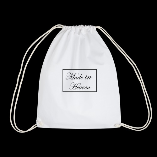 Made in Heaven Logo ,Black on white - Drawstring Bag