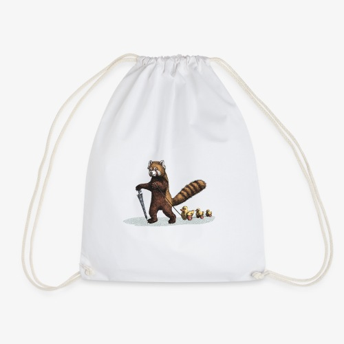 Red Panda with Ducks - Drawstring Bag