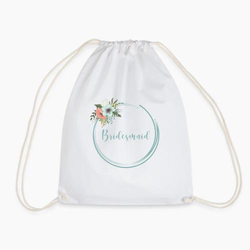 Bridesmaid - floral motif in blue - Drawstring Bag