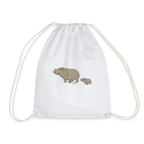 Hippo mit Baby - Turnbeutel