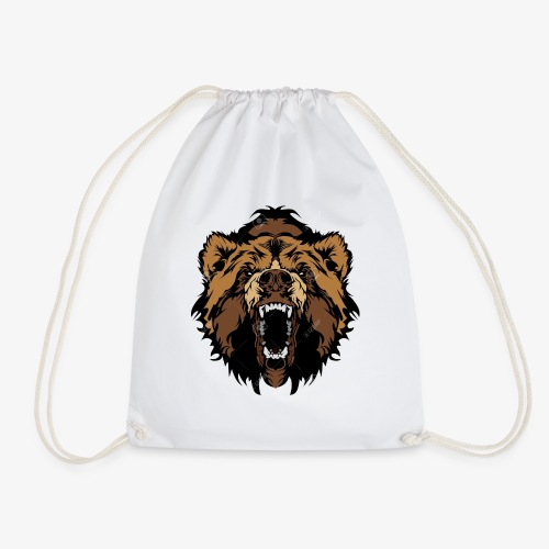 oso grizzly mascota cabeza vectorial - Mochila saco