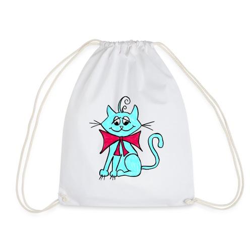 Katze blau - Turnbeutel